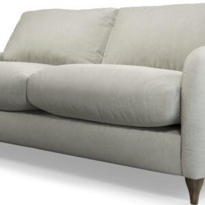 Custom MADE Sofia 2 Seater Sofa, Plush Silver Velvet with Light Wood Legs