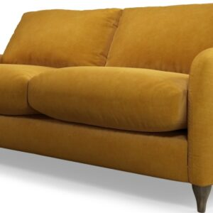 Custom MADE Sofia 2 Seater Sofa, Plush Tumeric Velvet with Light Wood Legs