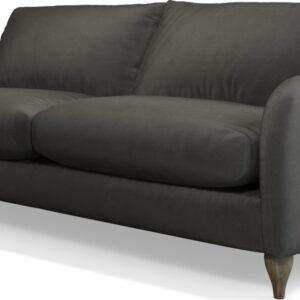 Custom MADE Sofia 3 Seater Sofa, Plush Asphalt Velvet with Light Wood Leg
