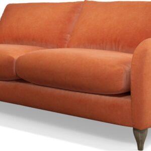 Custom MADE Sofia 3 Seater Sofa, Plush Coral Velvet with Light Wood Leg