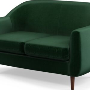 Custom MADE Tubby 2 Seater Sofa, Bottle Green Velvet with Dark Wood Legs