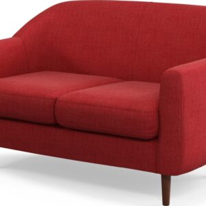 Custom MADE Tubby 2 Seater Sofa, Postbox Red with Dark Wood Legs