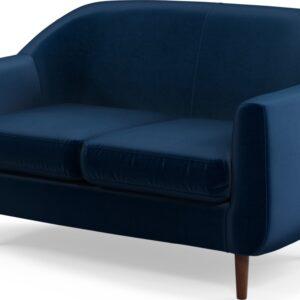 Custom MADE Tubby 2 Seater Sofa, Regal Blue Velvet with Dark Wood Legs