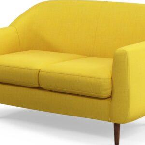 Custom MADE Tubby 2 Seater Sofa, Retro Yellow with Dark Wood Legs