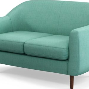 Custom MADE Tubby 2 Seater Sofa, Soft Teal with Dark Wood Legs