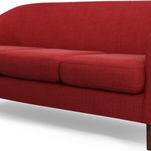 Custom MADE Tubby 3 Seater Sofa, Postbox Red with Dark Wood Legs