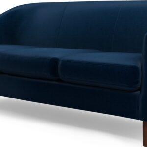 Custom MADE Tubby 3 Seater Sofa, Regal Blue Velvet with Dark Wood Legs