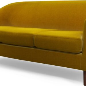 Custom MADE Tubby 3 Seater Sofa, Saffron Yellow Velvet with Dark Wood Legs