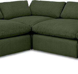 Samona Left Hand Facing Full Corner Sofa, Sage Corduroy Velvet