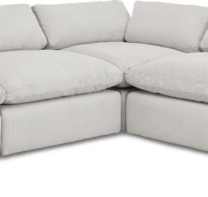 Samona Right Hand Facing Full Corner Sofa, Stone Grey Corduroy Velvet